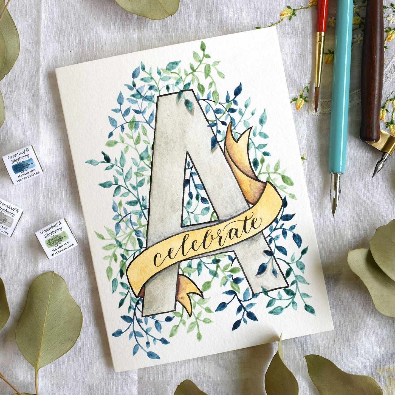 Watercolor Initial Diy Birthday Card Tutorial Art Mail Art