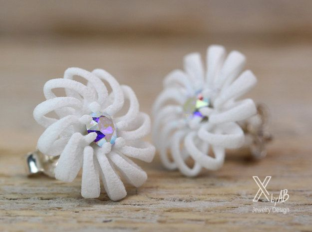 White Floral Earrings, Boho Wedding Earrings with crystal and ...