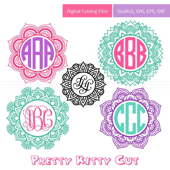 mandala circle monogram frames instant download by prettykittycut - Monogrammed Picture Frames