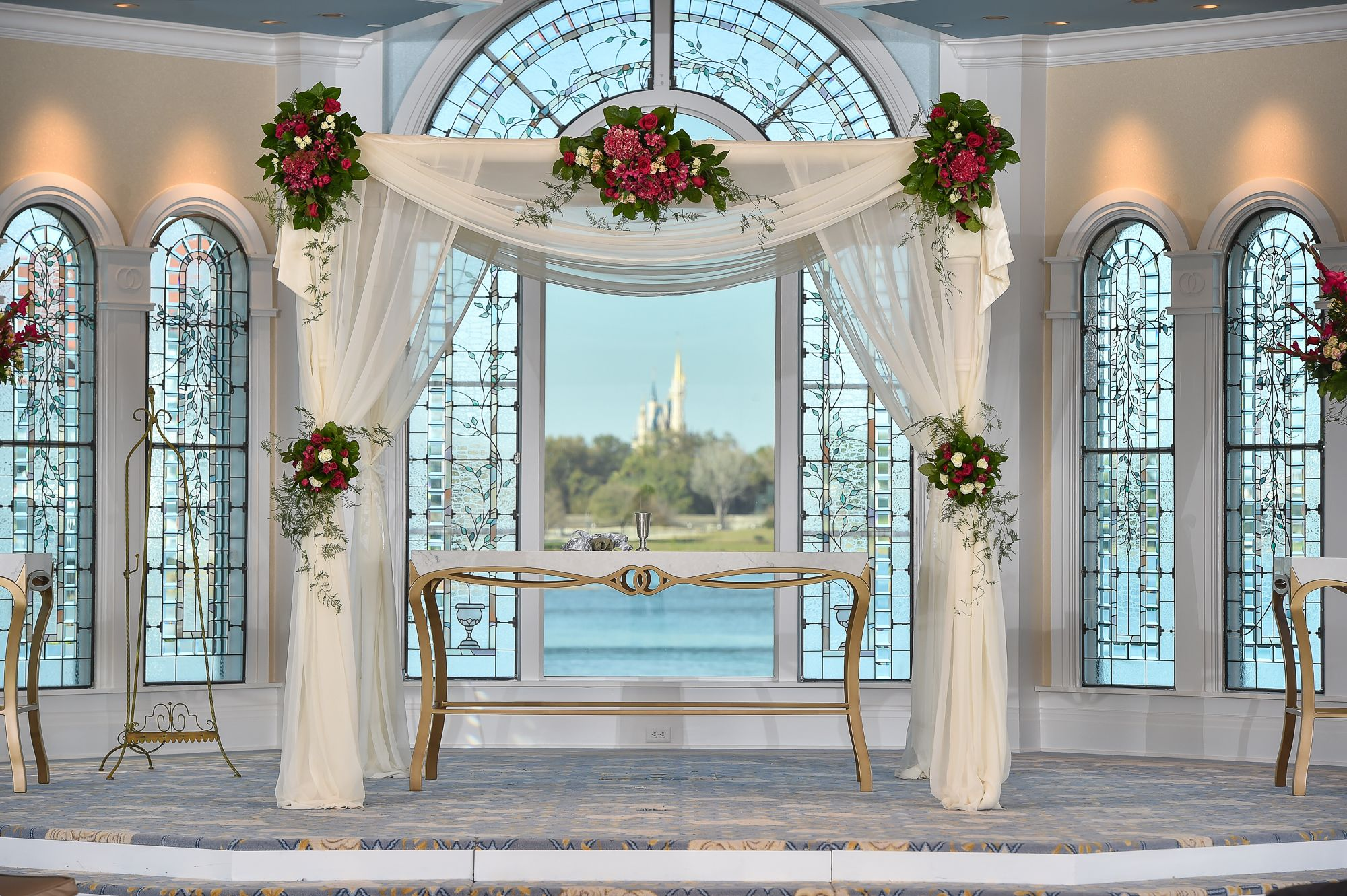 A View Of Cinderella Castle Under A Beautiful Chuppah At Disney S