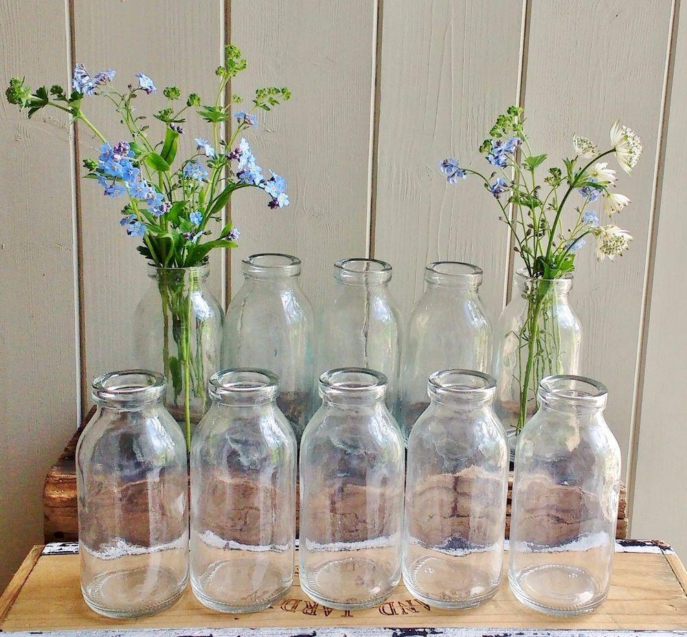 Bulk 10 Small Shabby Chic Vintage Milk Bottle Vases Weddings Party Vintage Milk Bottles Small Milk Bottles Vase