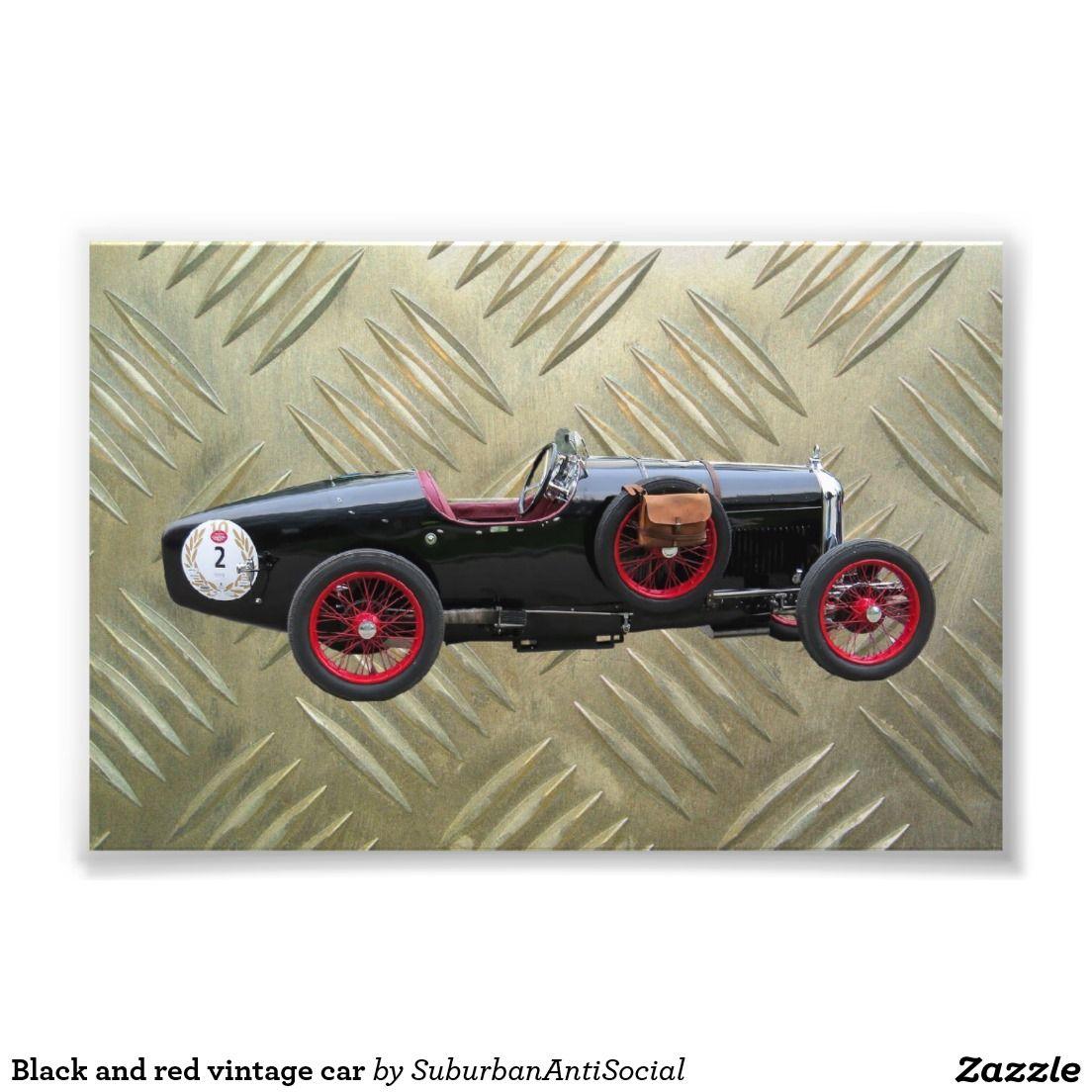 Black and red vintage car photo print
