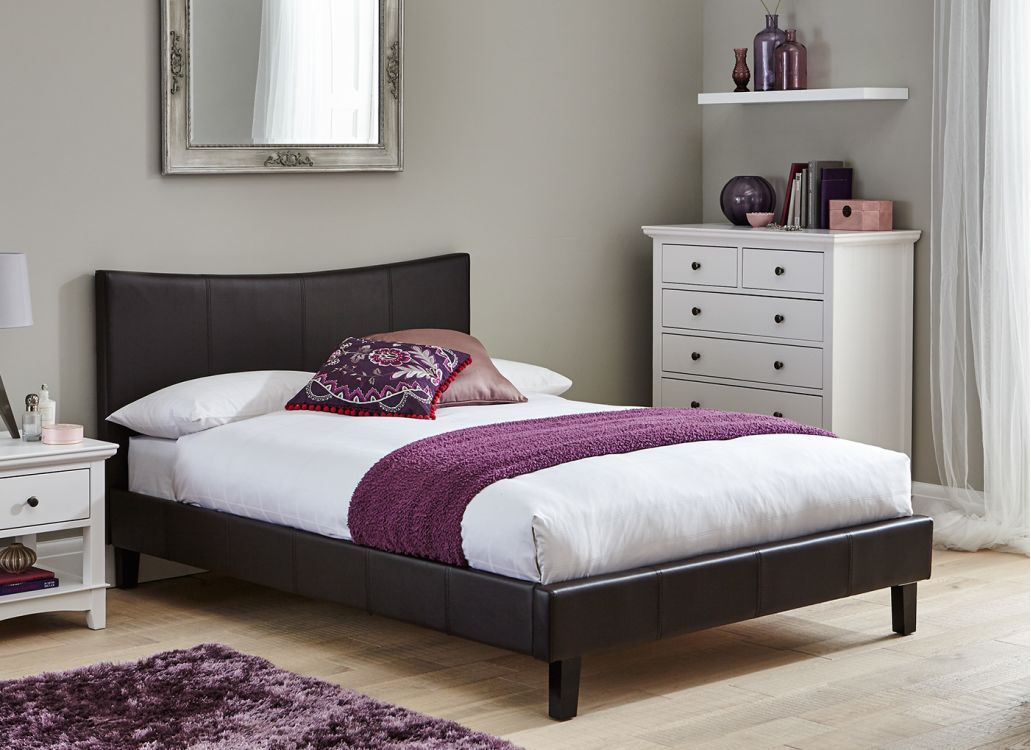Jakarta Bed Frame Brown Leather Bed White Bed Frame Leather