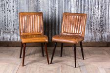Retro Vintage Style Leather Kitchen Dining Cafe Chairs Epsom With
