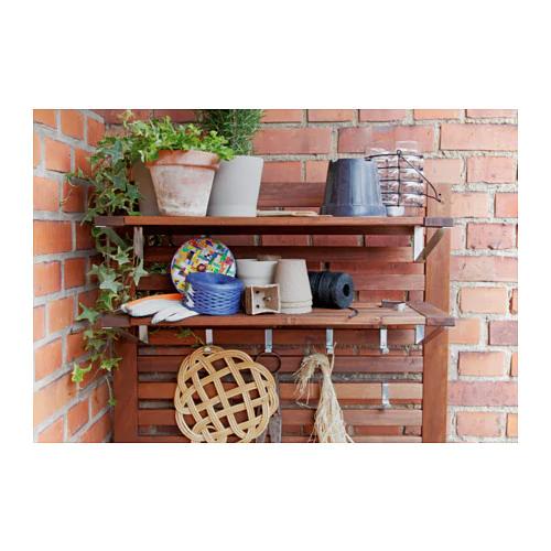 Applaro Shelf For Wall Panel Outdoor Brown Stained Brown 26 3 4x10 5 8 Outdoor Shelves Wall Paneling Wall Shelves