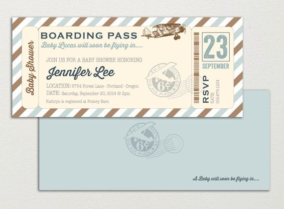 Aviator airplane little pilot boarding pass baby par papermeblossom aviator airplane little pilot boarding pass baby shower invitation digital file double sided filmwisefo