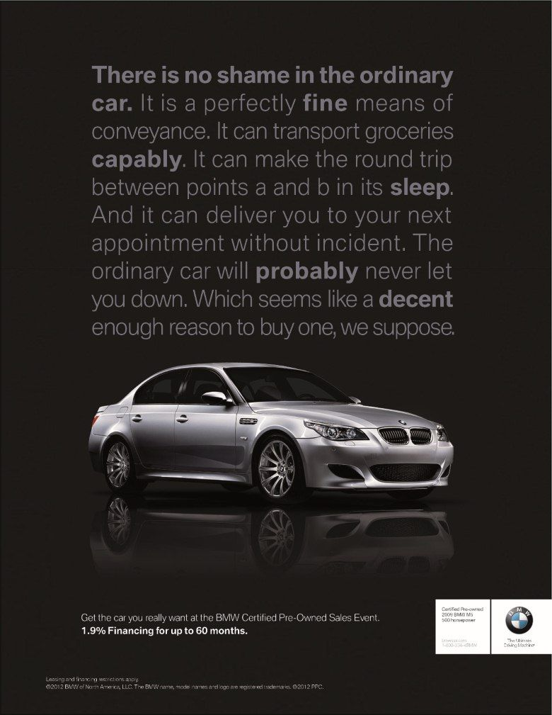 bmw print ad would like this with less text for the. Black Bedroom Furniture Sets. Home Design Ideas