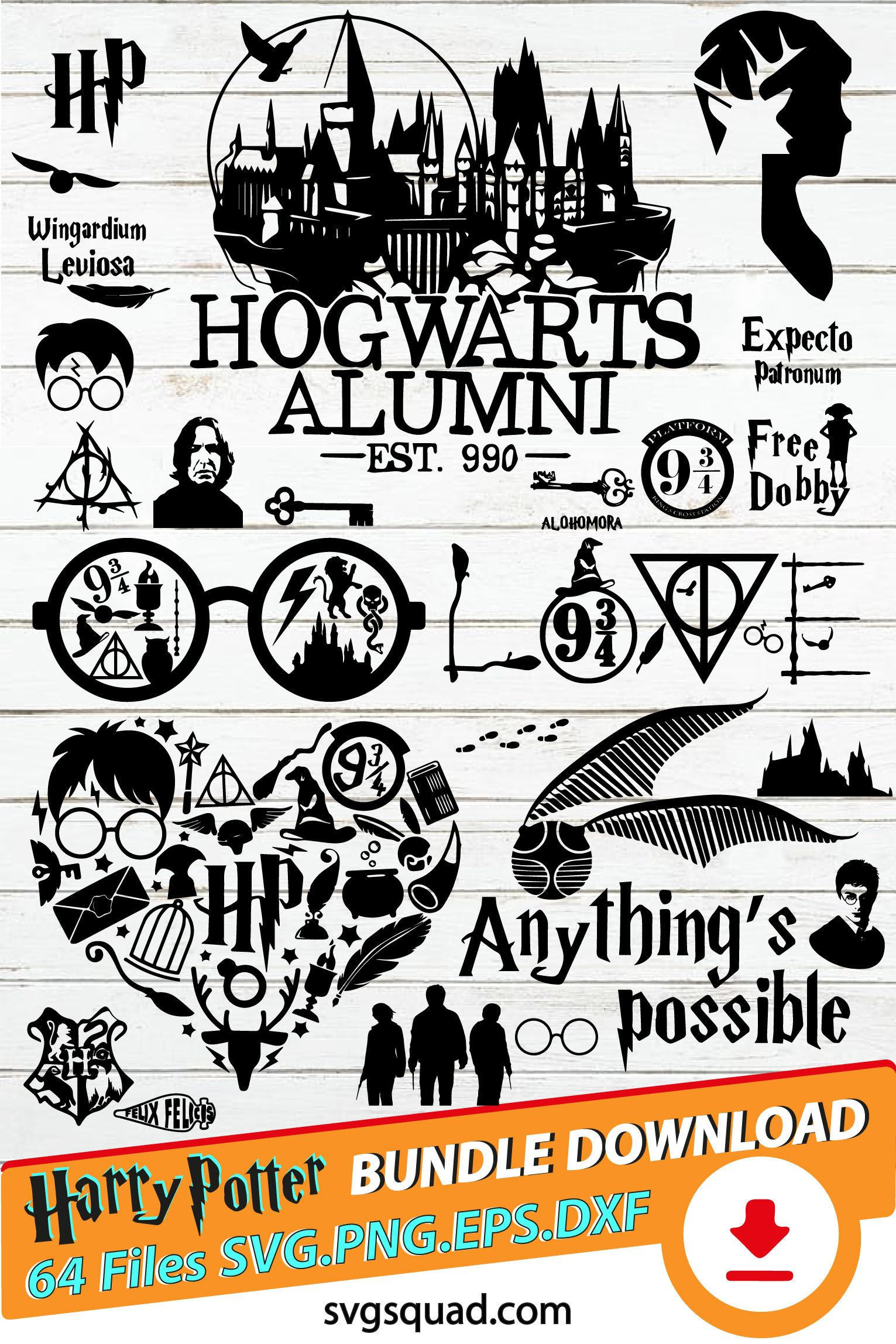 Free Harry Potter Svg Files : harry, potter, files, HARRY, POTTER, Bundle, Hogwarts, Harry, Potter, Silhouette,, Decor,, Decal