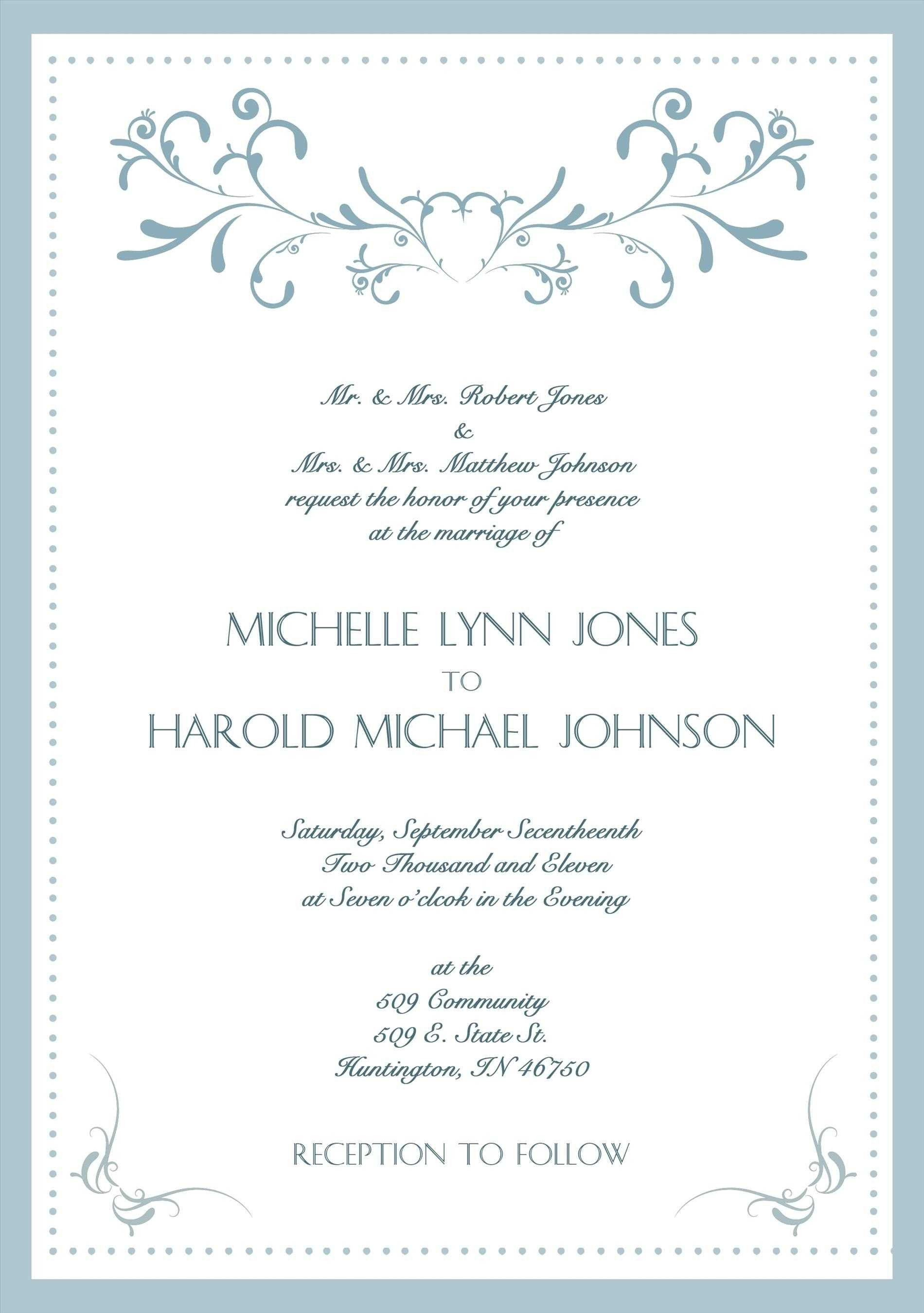Lovely Formal Wedding Invitation Wording