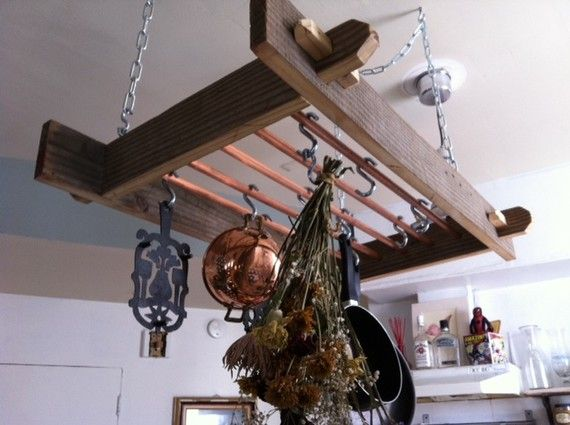 Reclaimed barn wood pot rack in the kitchen pinterest for Art cuisine chaudron