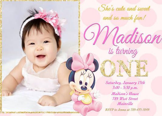 Minnie Mouse 1st Birthday Invitations