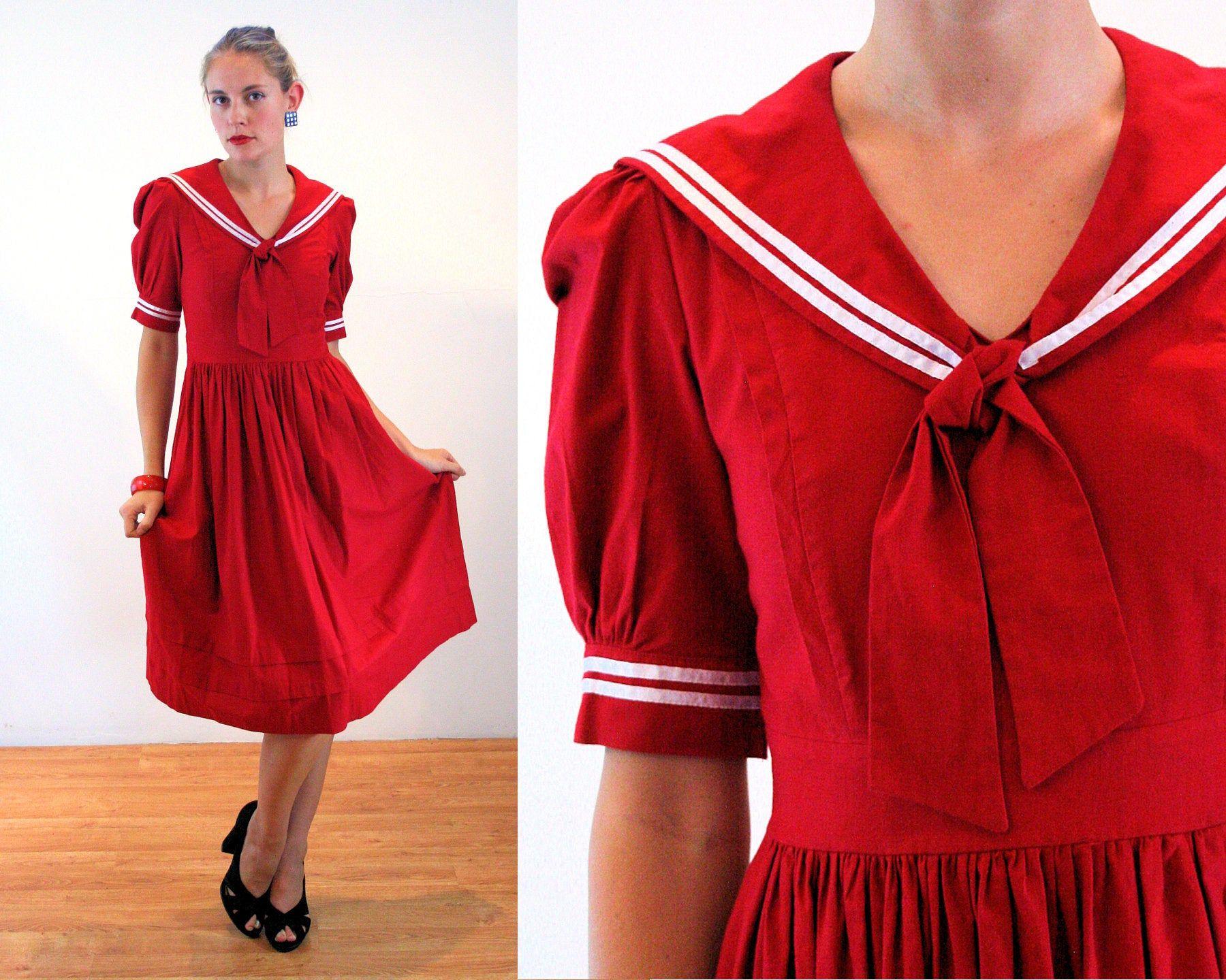 80s Laura Ashley Sailor Dress S Red Cotton Vintage Wales Uk Midi Small Sailor Dress Vintage Sailor Dress Dresses