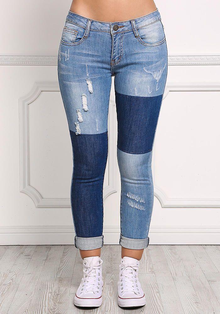 fdd647e38c 43$ Denim Two Tone Patched Skinny Jeans - Pants - Denim - Clothes ...