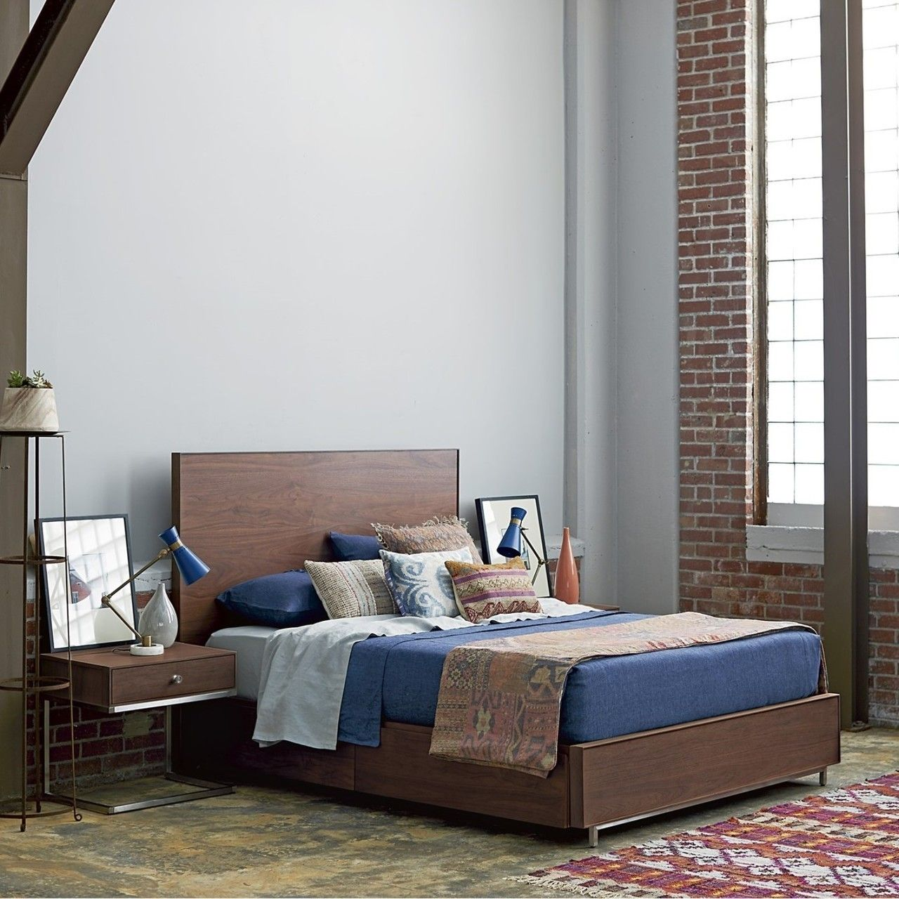 Urban Modern Walnut Queen Bed Frame Queen bed frame
