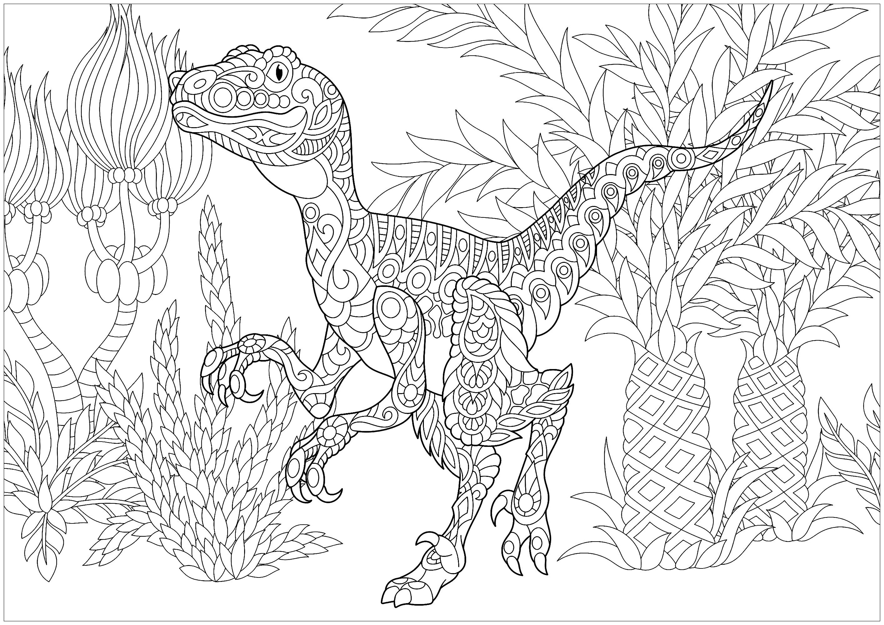 Stylized Velociraptor Dinosaur With Doodle And Zentangle Elements Dinosaur Coloring Pages Animal Coloring Pages Dinosaur Coloring