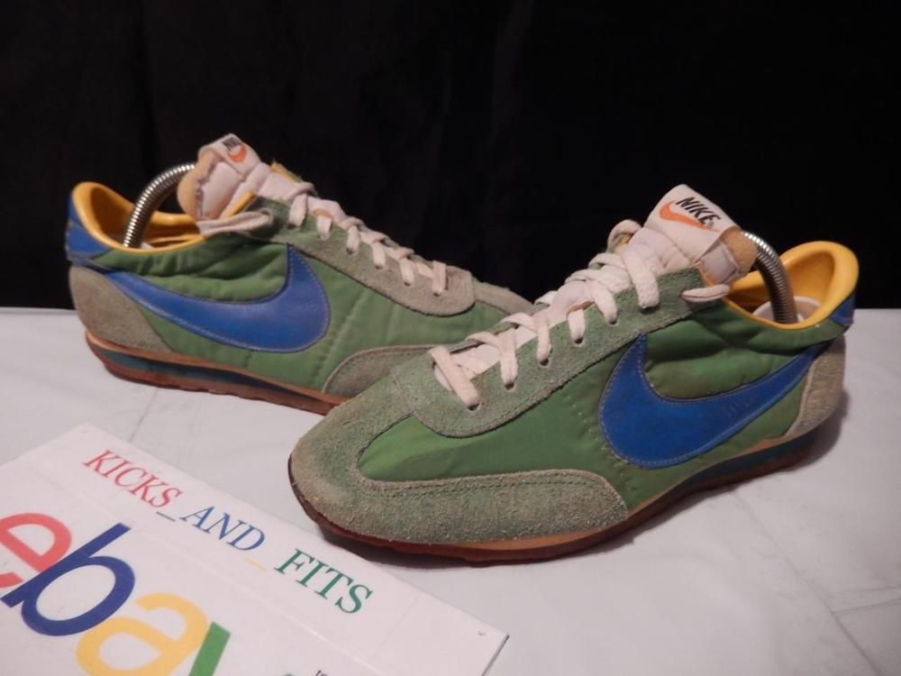 VTG OG 1977-1981 Nike Roadrunner sz 6 Taiwan Big Swoosh Green Royal Yellow  70s
