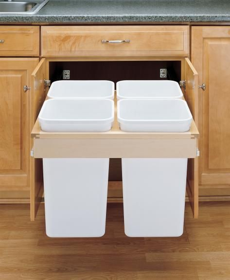 Kitchen Cabinet Trash Organizers Might Be My Favorite Set Up Recycling Bins Kitchen Rev A Shelf Kitchen Trash Cans