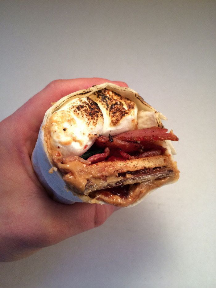 Make a Peanut Butter & Jelly Bacon S'morrito (wrapped in a tortilla, obviously).