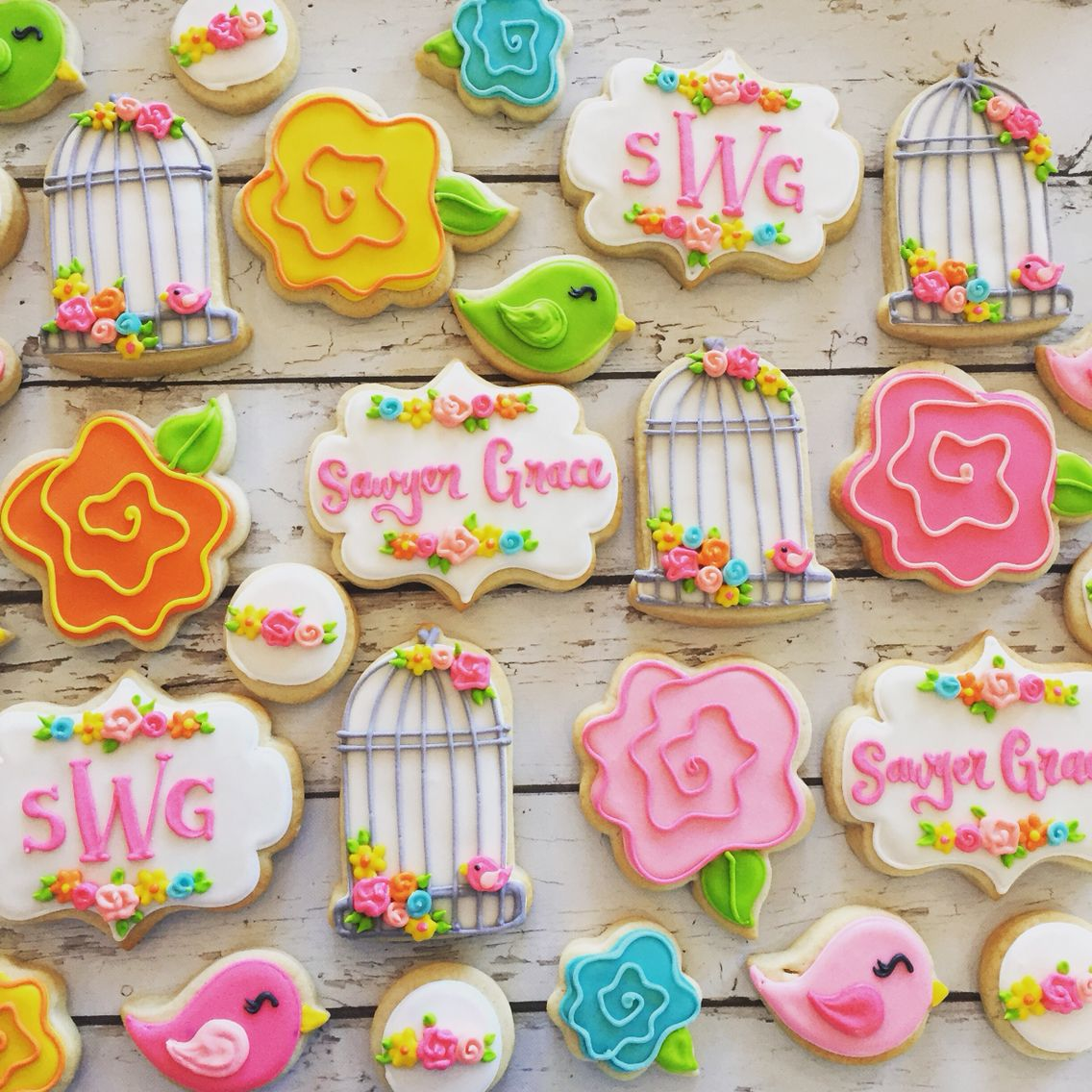 Birds And Floral Baby Shower Cookies By Hayleycakes And Cookies In