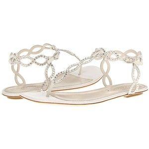 Bridal flat sandals, Sparkly wedding