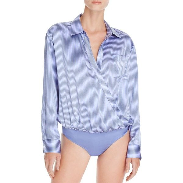 T by Alexander Wang Pinstriped Silk Bodysuit (1.236.125 COP) ❤ liked on 58719e76d