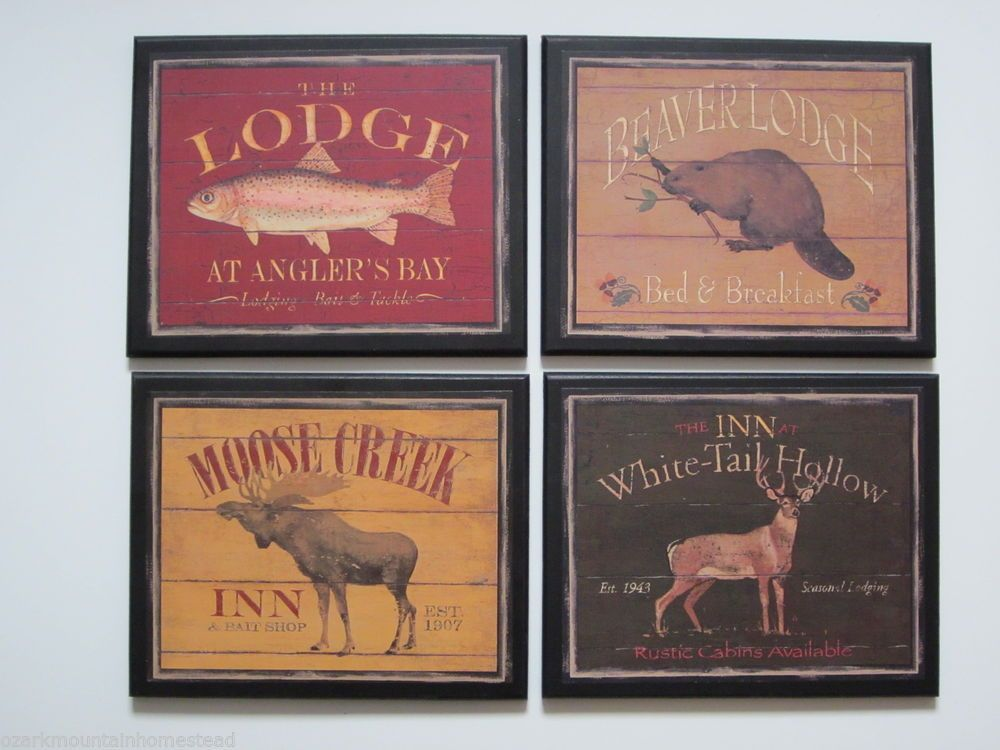Lodge Style 4 Plaques country rustic hunting cabin wall decor wild ...