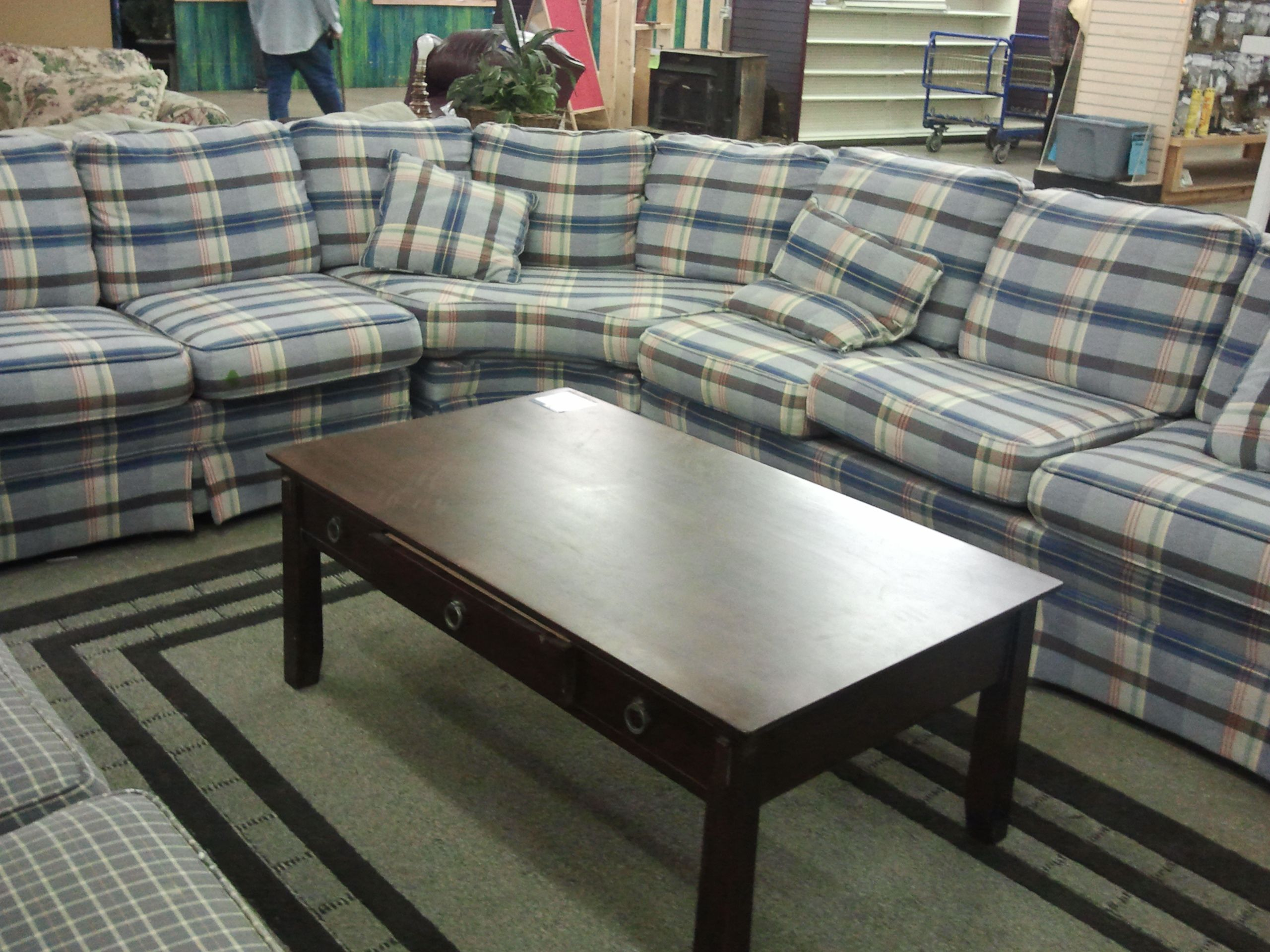 Plaid sectional with awesome coffee table ReStore