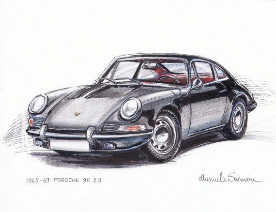 Porsche 911 Print – Gift – German – Car Drawing – Car Illustration – Wall Decor – Garage
