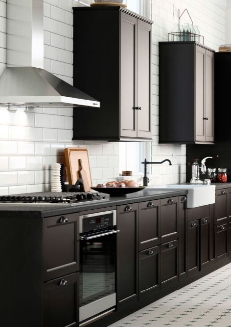 Create a country style sektion kitchen with black brown for Country style kitchen doors