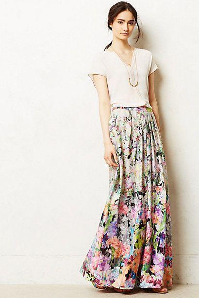 Falda floral de Anthropologie