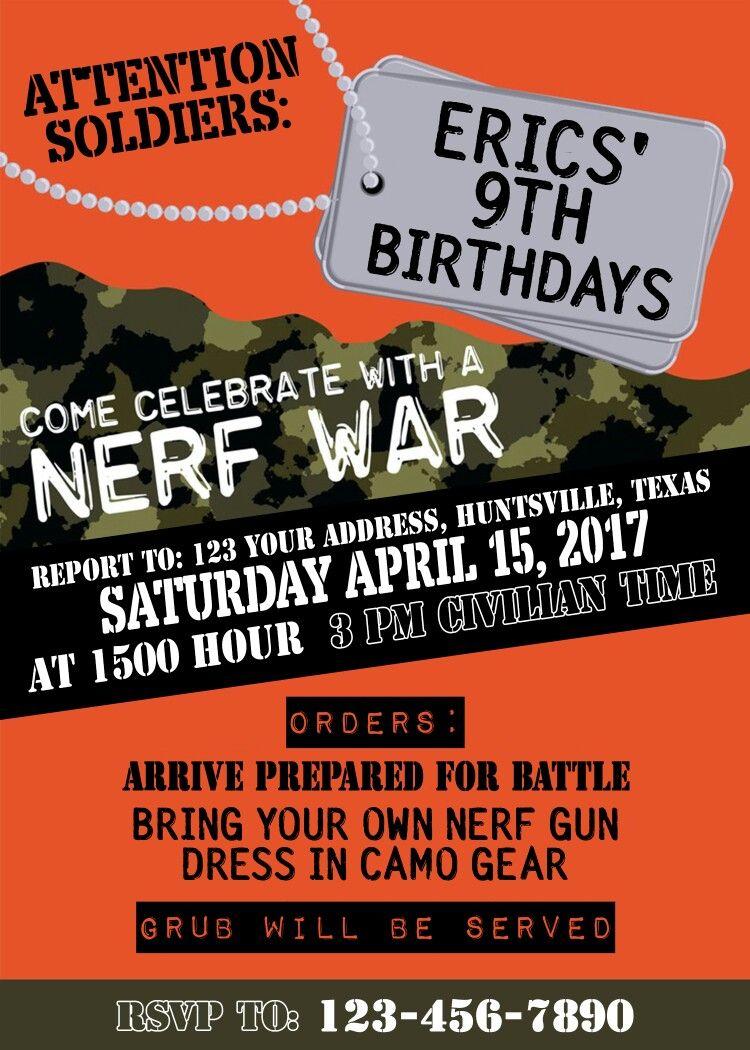 Nerf Birthday Party Invitations Army 9th