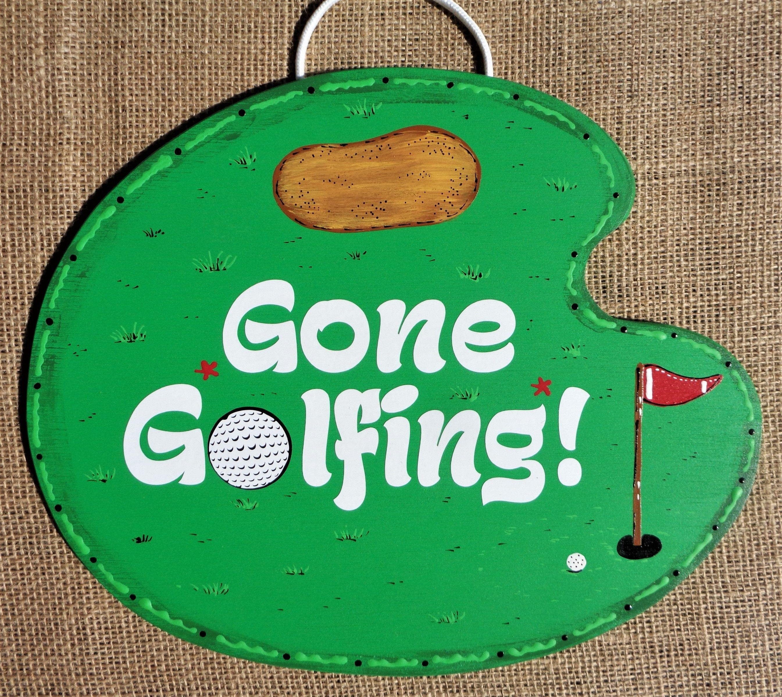 Gone Golfing Sign Wall Art Golf Door Hanger Sport Plaque Home Family Deck Patio Summer Decor Handcrafted Hand In 2020 Wall Signs Hand Painted Decor Painted Wood Signs