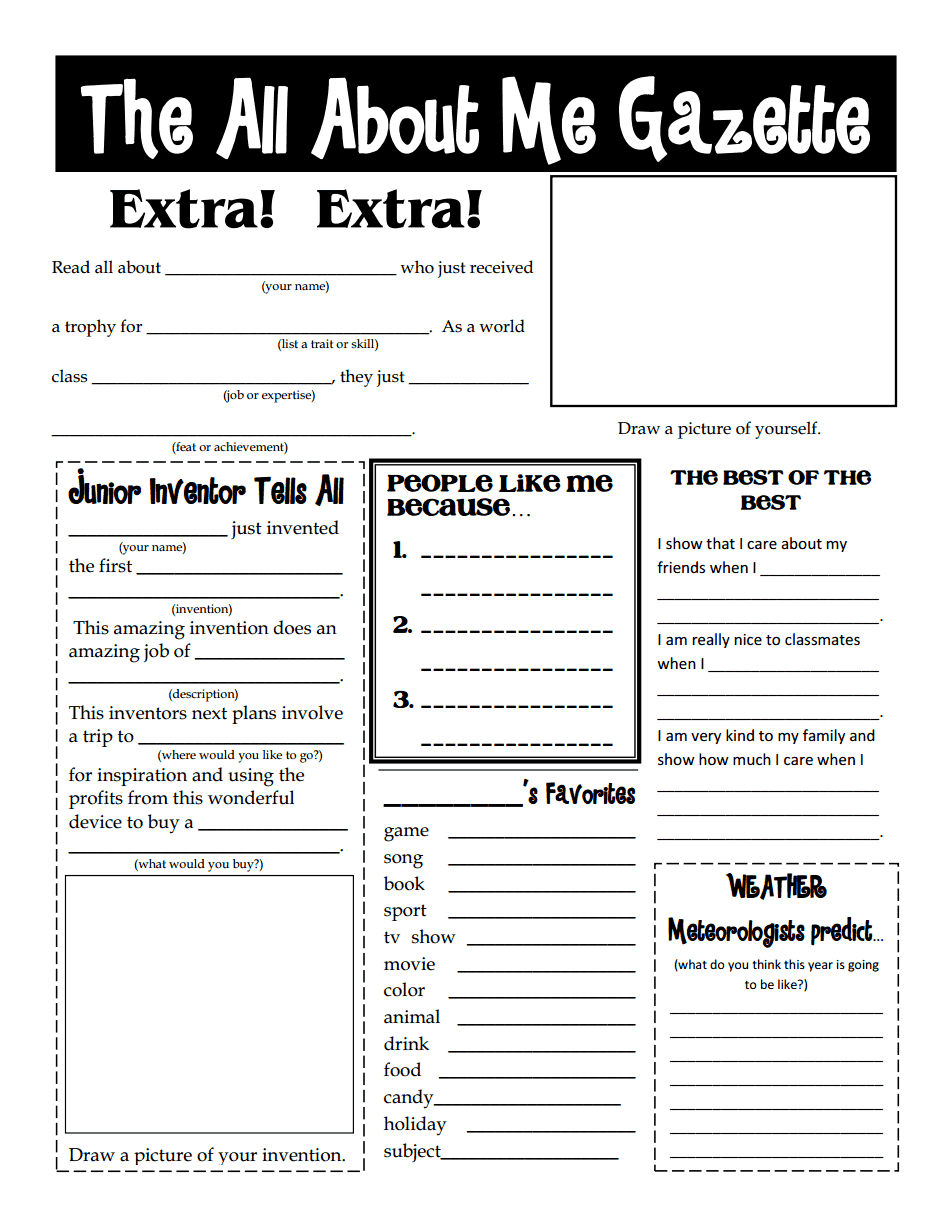 worksheet All About Me Middle School Worksheet all about me gazette pdf great for beginning or end of year year