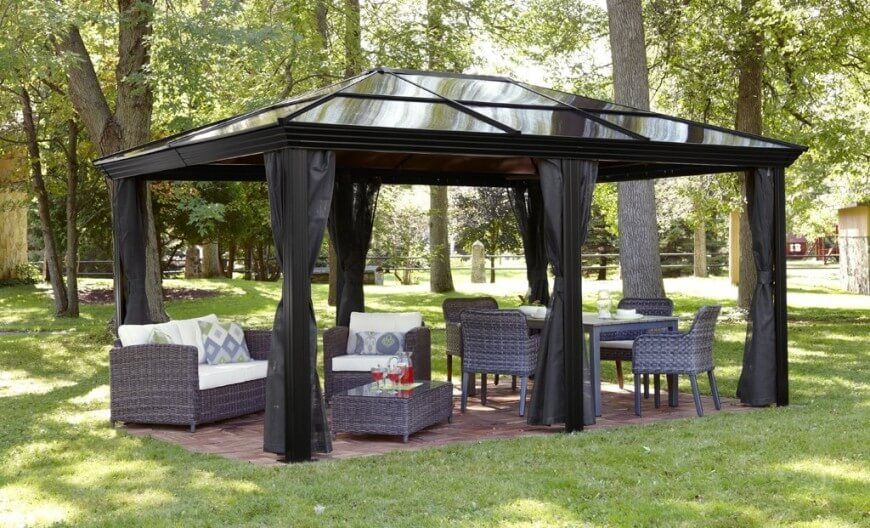34 Metal Gazebo Ideas To Enhance Your Yard And Garden With Style Backyard Gazebo Gazebo Tent Backyard Canopy