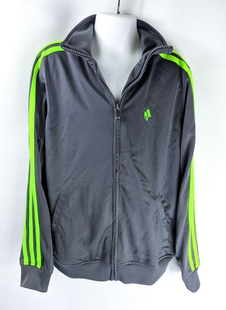 066ddcd52 Adidas Youth Track Jacket Grey Neon Green Stripe Boys Size 8 Zip Up ...