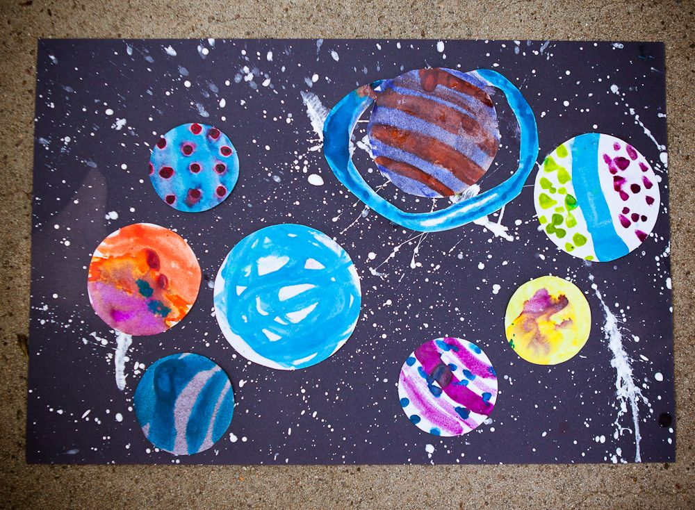 Solar System Craft For Kids: Draw Circles; Paint Them; Cut