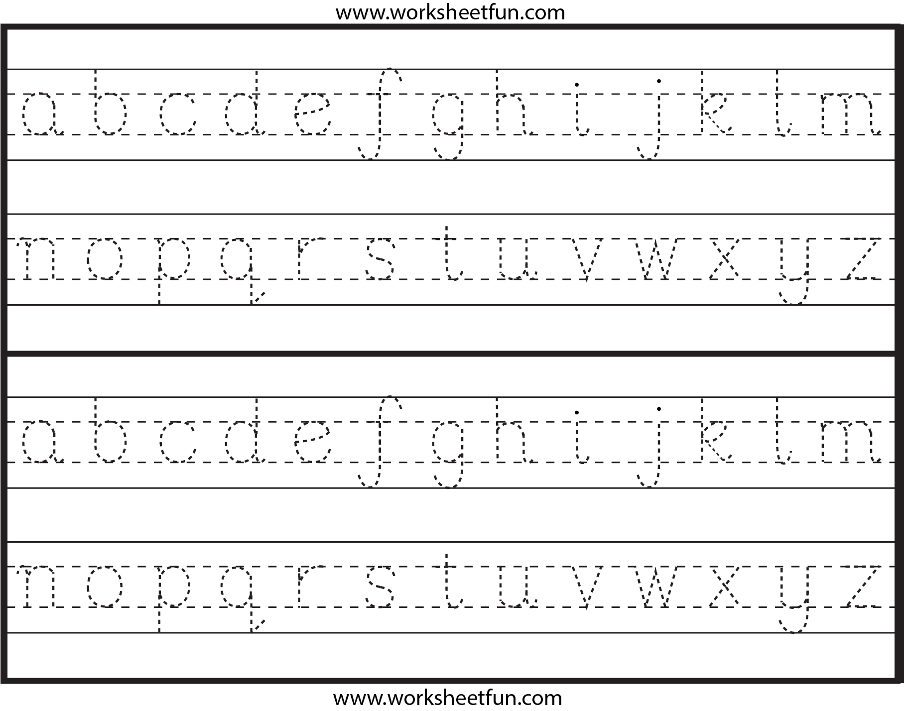 Lowercase Alphabet Letter Tracing Worksheets