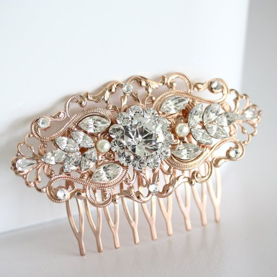 Rose Gold Wedding Hair Comb Art Deco Bridal Hair Accessories Vintage Filigree Comb Pearl Crystal Hair Piece for Bride . BELLA