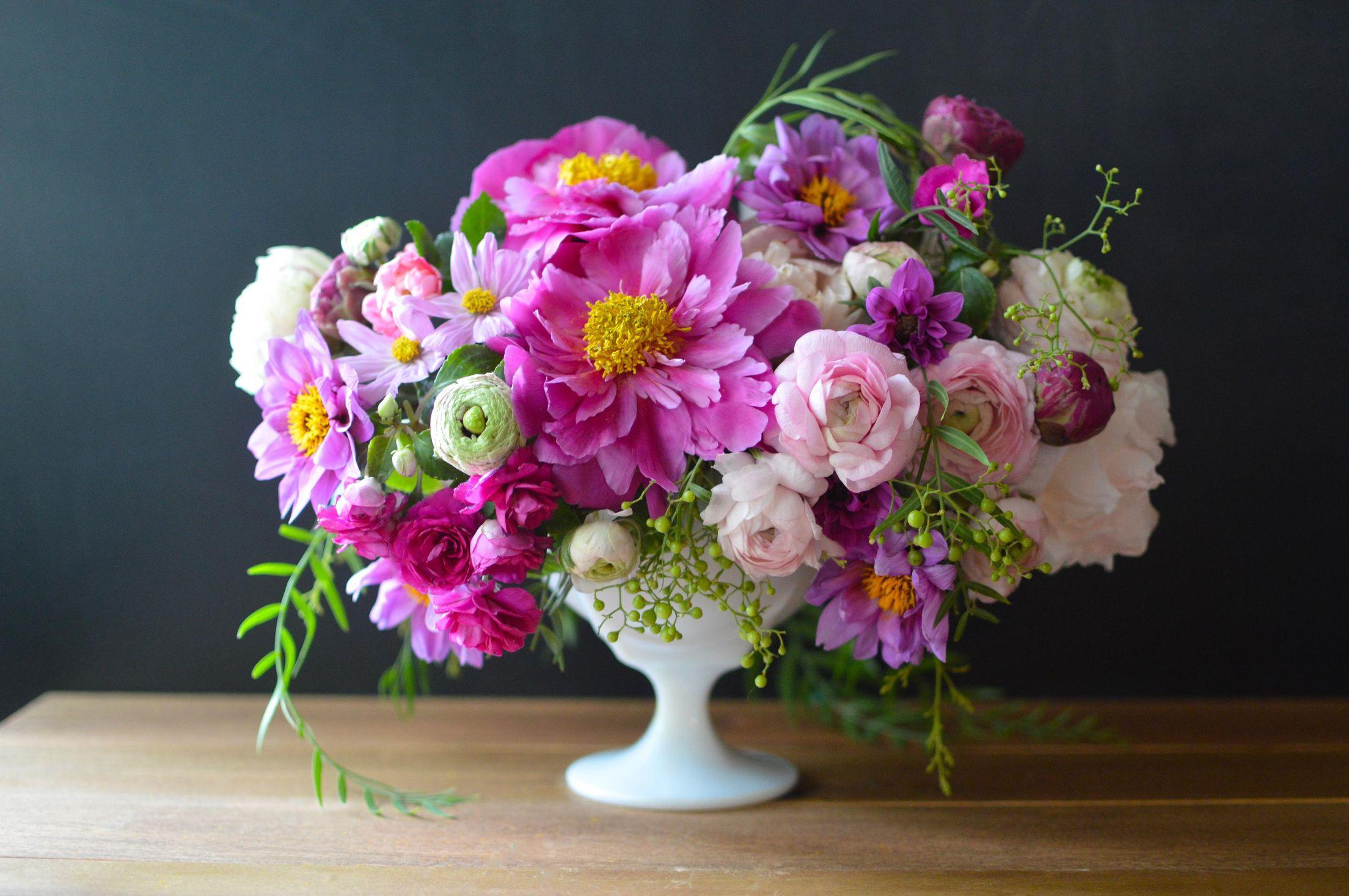 Peonies Dahlias Ranunculus And Cosmos Flower Arrangements Beautiful Flowers Floral Design