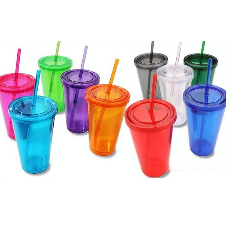 Double Wall Plastic Tumblers With Lids Straws 16oz Drinking Cups Mugs Double Wall Insulated Tumblers Plastic Tumblers Plastic Drink Cups Wedding Tumbler Cups