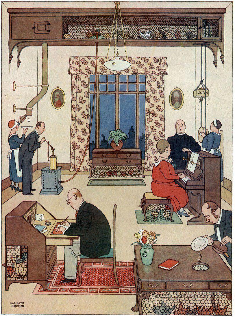 William Heath Robinson - An Ideal Home No. IV - Top Floor Chicken Farm  (1933)[813*1093] | Affiche imprimée, Illustrations, Illustration