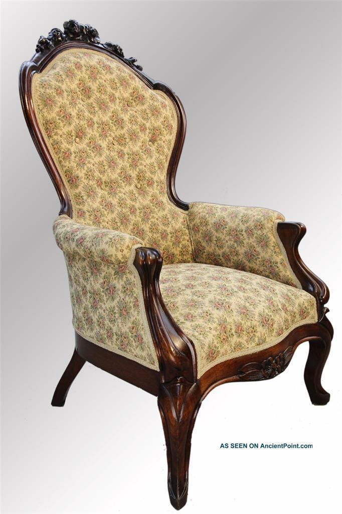 Victorian Antiques Chairs From 1800s | 16018 Antique Victorian Rose Carved  Newly Upholstered Arm Chair 1800 . - Victorian Antiques Chairs From 1800s 16018 Antique Victorian Rose