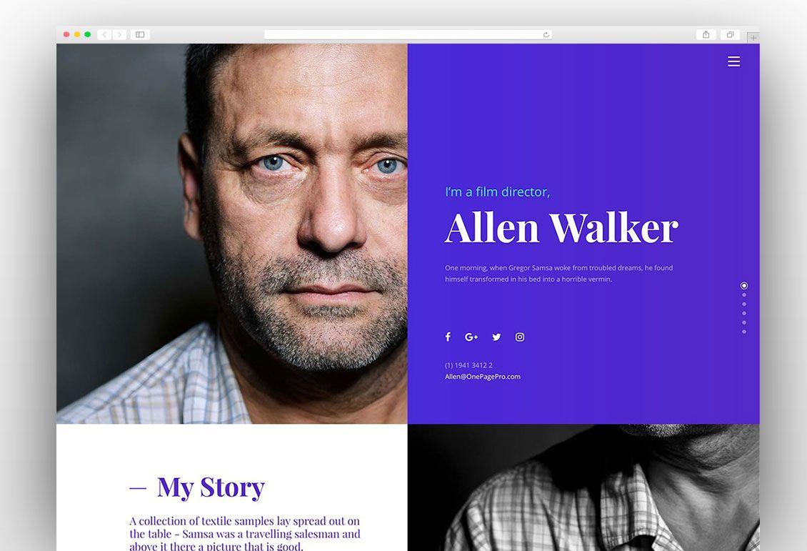 One Page Pro | vCard WordPress Themes | Pinterest