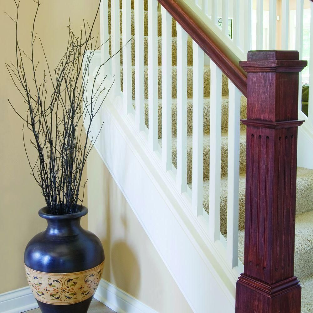 Stair Parts 55 In. X 6 1/4 In. Poplar Fluted Box Newel Post. RailHome  DepotStairs