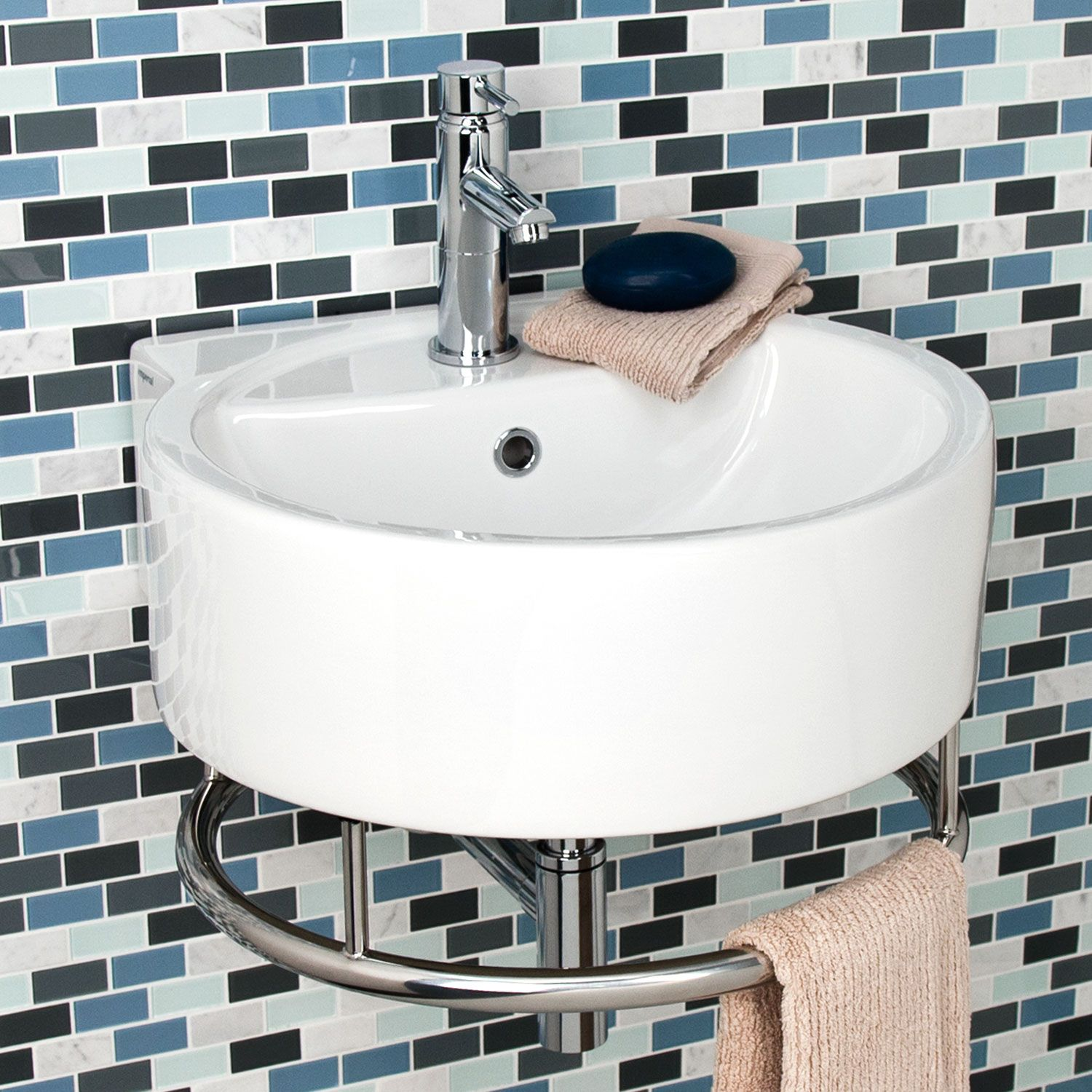 Limbrook Round Wall Mount Sink With Towel Bar Sink Small Sink Small Bathroom