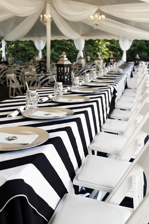 Black And White Striped Tablecloth 1 Day Freeship Kate Etsy White Table Settings Striped Tablecloths Backyard Wedding