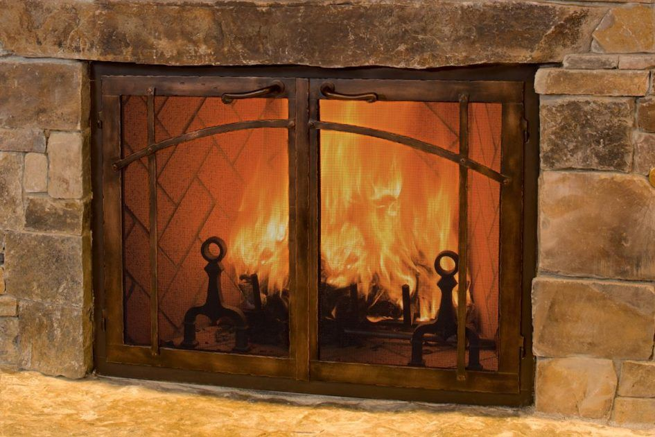 Furniture Best Stainless Steel Glass Fireplace Doors Burning Around