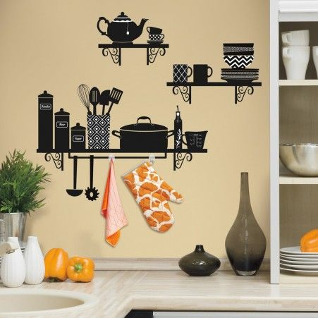 Build a Kitchen Shelf peel and stick wall decals includes removable ...