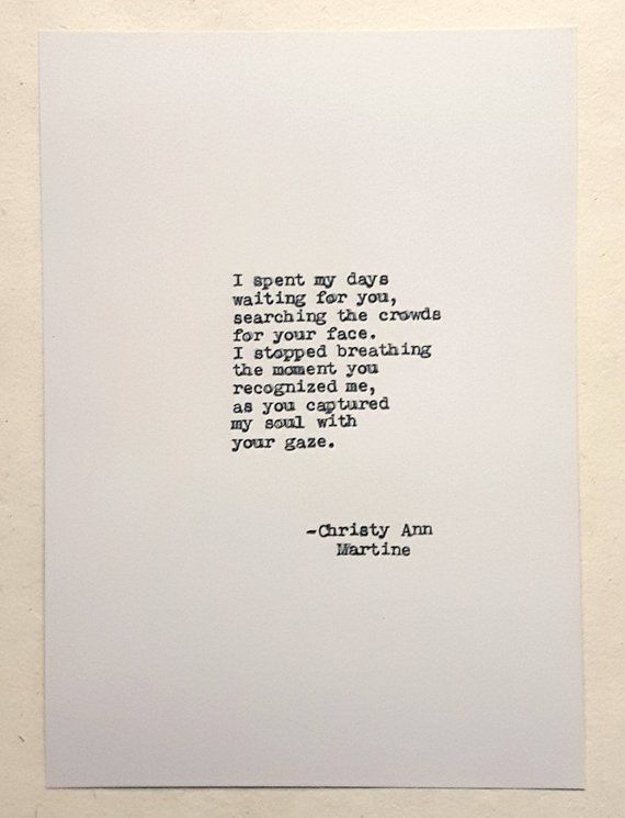 Soulmate Gift - Twin Flame Gifts - Love at First Sight - Soulmates Art - Love Poem Hand Typed by Aut
