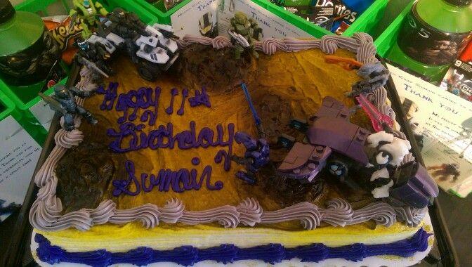 Pleasant Diy Cake Ordered Regular Cake And Added Halo Toys Halo Birthday Birthday Cards Printable Nowaargucafe Filternl